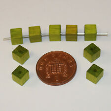 100 green quality cube square Czech wood beads jewellery making 6mm