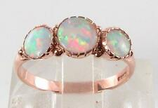 LUSH LARGE 9K 9CT ROSE GOLD FIERY OPAL TRILOGY RING FREE RESIZE
