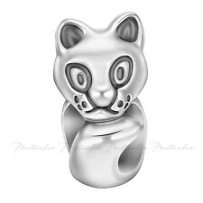 Lovelinks Bead Sterling Silver, Cat Bead Oxidised Silver Charm Jewelry TT660