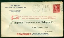1913, 2¢ tied by LOWELL Mass. Flag cxl on NEW ENGLAND TELEPHONE w/pointed finger