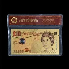 £10 British Pounds Note 24k Gold Foil Banknote Bank of England For Collection