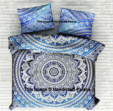 Ombre Mandala Bedspread Hippie Tapestry Indian Queen Bed Sheet Set Pillow cover