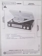 Vintage Sams Photofact Folder Radio Parts Manual Panasonic SG-570 Record Player