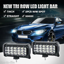 TRI ROW 6INCH 90W CREE LED WORK LIGHT BAR SPOT / FLOOD OFFROAD DRIVING 7INCH 36W
