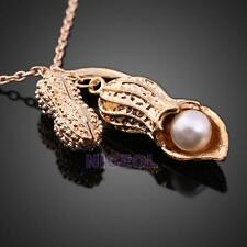 Fashion Korean Women Girls Peanut Pendant with Pearl Necklace Sweater Chain Gift