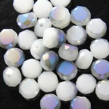 10pcs 10mm Swarovski  Flat drum Crystal beads D white+half blue