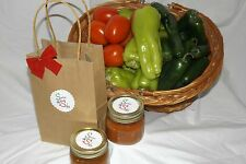 Sweet n Salsy, hot or fire fruit salsa in a quaint brown gift bag