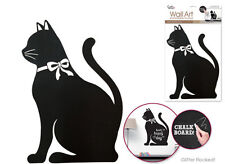 CAT CHALKBOARD wall sticker BIG decal with flocked glitter kitten animal decor