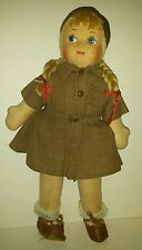 Vintage Made Brownie Girl Scout Doll Cloth Doll Painted Face Leather Like Shoes