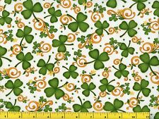 St. Patrick's Shamrocks on White Quilting Fabric by Yard  #446