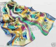 New 100% Silk Abstract Animal Cats Print Stole Neck Long Scarf Shawl Wrap 50X10'