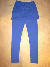 White Mark Cotton Spandex Ankle Length Skirted Leggings Large Blue New