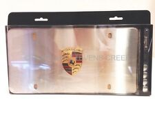 Porsche Marquee Vanity License Plate Frame Brushed Finish Colored Crest OEM