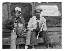 1930s era vintage photo-African American musicians-accordion-washboard-8x10 in
