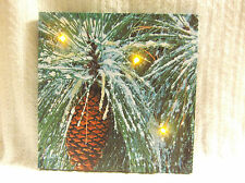 Pine Cone Lighted Canvas Wall Decor Sign Winter Glitter Snow