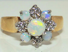 A FINE VINTAGE 9CT YELLOW GOLD CABOCHON OPAL  DIAMOND CLUSTER  RING SIZE O