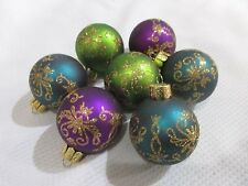 Christmas Peacock Teal Blue Glitter Ball MINI Ornaments Decorations Set of 7