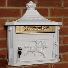 White Aluminium Metal Post Letter Box Wall Hanging Antique Vintage Style