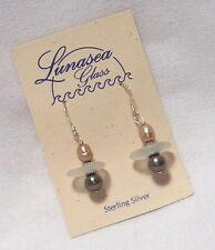 LUNASEA TREASURES SEAFOAM WHITE SEA GLASS W GOLD BROWN FW PEARL EARRINGS