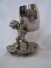 Antique Victorian Silverplate Figural Winged Putti Cherub Toothpick Holder