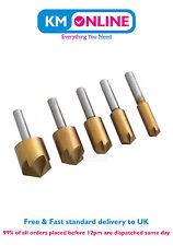 5pc Titanium Coated Countersink Drill Bit Set Wood Screw 8 10 12 16 19mm Hole