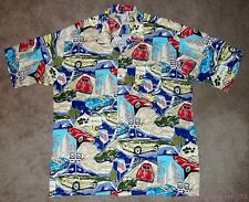 ISLAND COLLECTION RAYON CLASSIC CAR TROPICAL HAWAIIAN BUTTON FRONT SHIRT 3XL