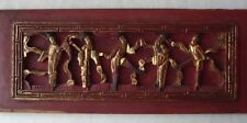 """WONDERFUL ANTIQUE CHINESE CARVED WOOD GOLD GILT TEMPLE PANEL-HIGH RELIEF 15+"""" L"""
