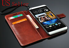 Brown Luxury Glossy PU Leather Flip Card Wallet Case Stand Cover HTC Desire 816