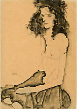 Egon Schiele Reproductions: Nude with Black Hair - Fine Art Print