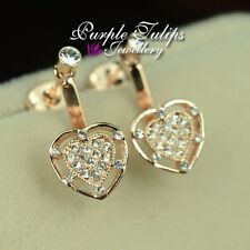 18CT Rose Gold Plated Two Way Wearing Heart Stud Earrings W/Swaroski Crystals