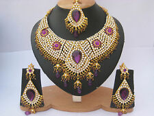 INDIAN BRIDAL & PARTY WEAR JEWELLERY SET PURPLE GOLD NEW - AQ/16