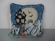 """USA Made NWOT Beary Scary Halloween 12.5"""" x 12.5"""" Tapestry Throw Pillow #350"""