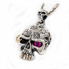 SINGLE RED EYE PUNK ROCK SKULL 925 STERLING SILVER BIKER PENDANT jo-067