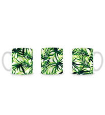 Tropical Palm Print Pattern in Cool Green Design Mug