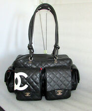 CHANEL BLACK QUILTED LEATHER CAMBON MULTIPOCKET REPORTER HANDBAG