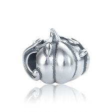 Silver Pumpkin Charm Bead - Fits European Charms Bracelets - Gift Packing