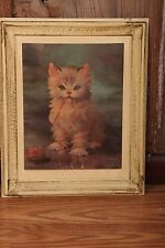 """Vintage Painting Of White Cat With Yarn On Plastic Framed 11 1/2"""" x 14"""" Kitty"""