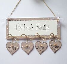 Shabby Chic Personalised Family Name New Home Wedding Plaque Sign Gift Keepsake