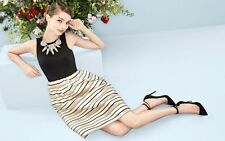 J Crew Gold stripped black dress US 2 UK 6-8  £228 Sold Out