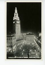 Terminal Tower CLEVELAND Vintage RPPC Night Photo INTERCITY CONFERENCE 1949