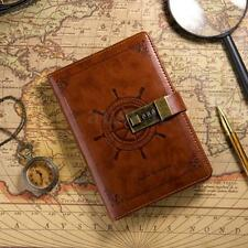 B6 Vintage Brown Leather Journal Wired Diary Note Book with Password Code Lock