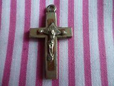Vintage French cross/crucifix wood/silver Souvenir de Notre Dame de Lourdes