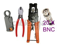 Compression Tool Stripper Cutter BNC F Coax Connector RG59 Crimping Cable 20 CON