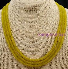 FINE NATURAL 3 Rows 2X4mm FACETED Peridot GEMSTONE BEADS NECKLACE