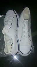 Ladies White Canvas Lace Up Pumps Size 5 New