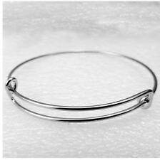 5pcSilver Expandable wire bangle charm bracelet Stainless Steel Adjustable Adult