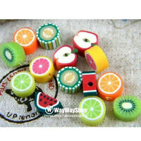 100 Pcs Nail Art Cane mixed fimo Polymer Clay Fruit Spacer Beads 10mm GG