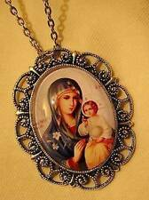 Lovely Lacy Scalloped Glass Blue & Gold East-Indian Madonna Child Cameo Necklace
