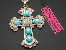 Betsey Johnson rhinestone blue crystal cross pendant necklace # F317A