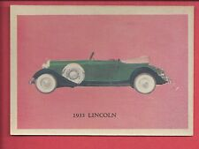1957 Premiere trading cards Antique autos 1933 LINCOLN